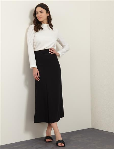 Wide Pleated A-line Skirt B21 12009 Black
