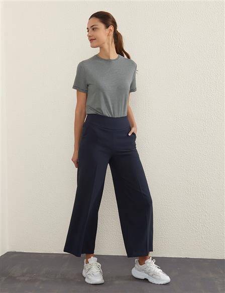 KYR Wide Leg Fabric Pants B21 79004 Navy