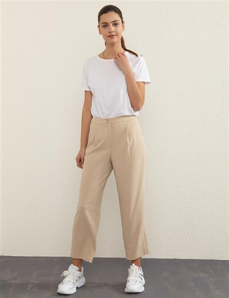 KYR Stripe Detailed Pants B21 79012 Stone