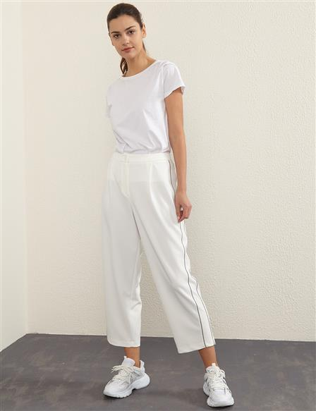 KYR Stripe Detailed Pants B21 79012 Ecru