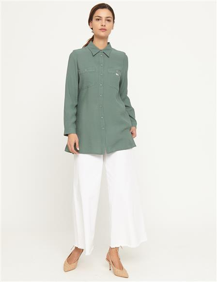 KYR Shirt With Contrast Buttons Double Pockets B21 71002 Green
