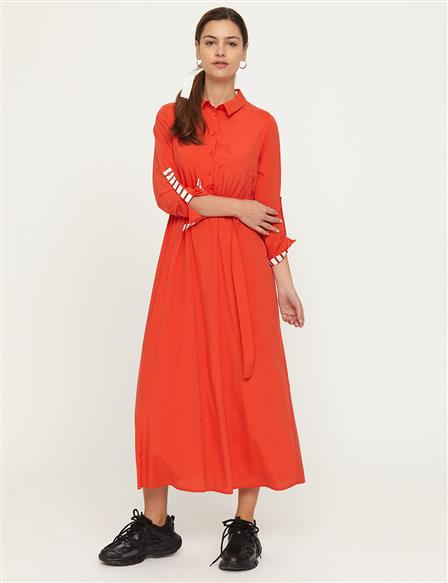 KYR Shirt Collar Flowy Dress B21 83007 Red