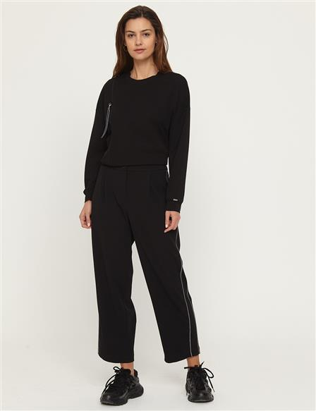 KYR Stripe Detailed Pants B21 79012 Black
