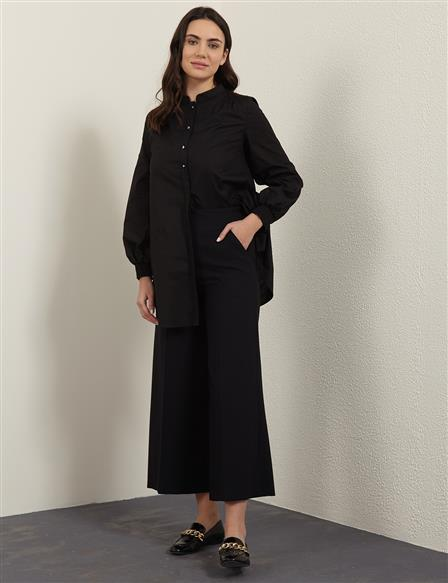 KYR Wide Leg Fabric Pants B21 79004 Black