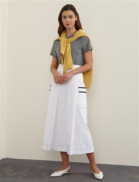 Contrast Stitching Pleated A-line Skirt B21 12010 White