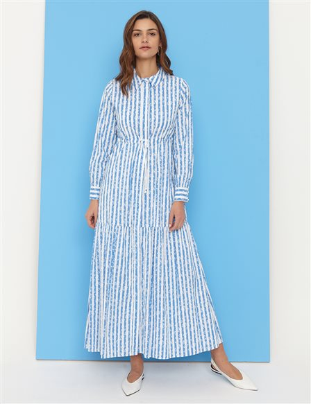 KYR Floral Striped Long Dress B21 83005 White-Blue