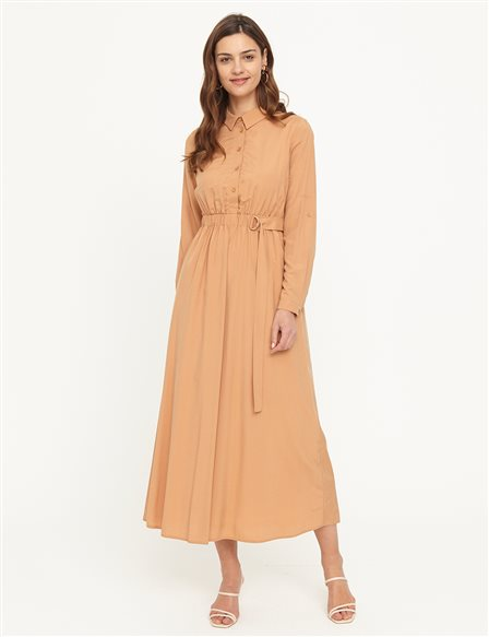 KYR Shirt Collar Flowy Dress B21 83007 Beige