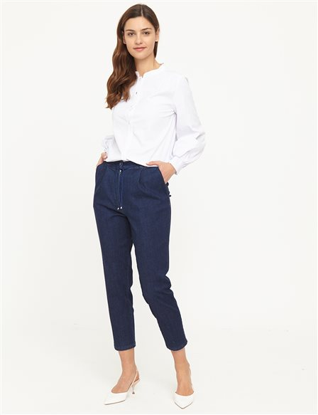 Skinny Leg Denim Pants B21 19078A Navy