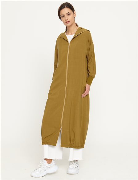 Hooded Long Trench Coat B21 25005 Green