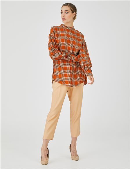 Balloon Sleeve Checkered Blouse B20 10049 Taba