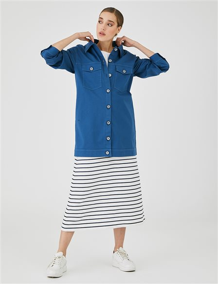 Large Buttoned Shirt with Double Pocket A20 11015 Indigo