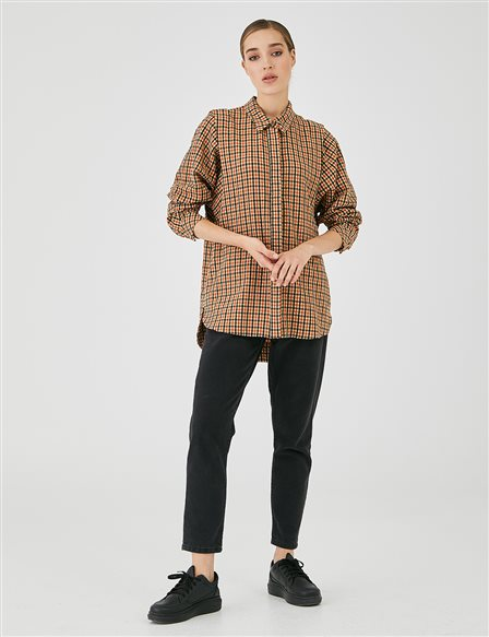 Hidden Pave Plaid Shirt Beige A20 11001