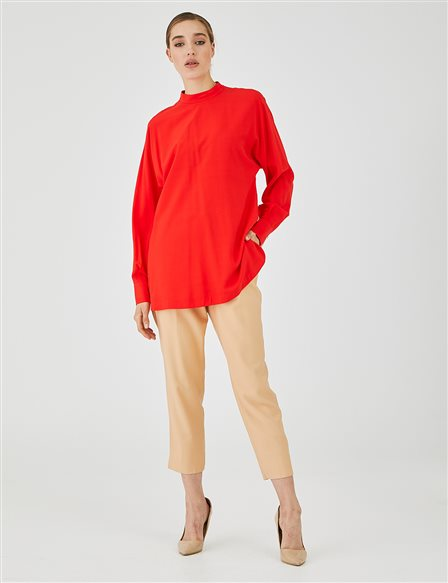 Turtleneck Blouse A20 10126 Coral