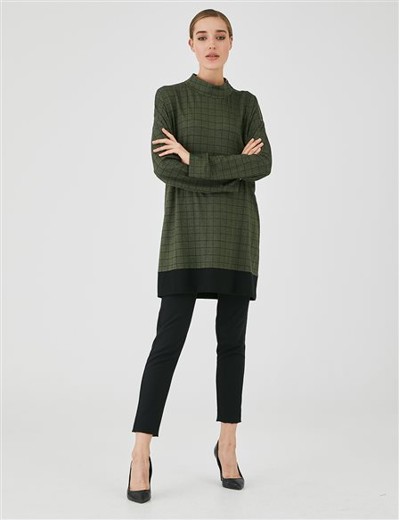 Checked Oversize Blouse A20 11019 Green