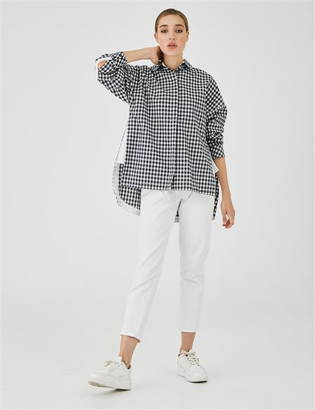 Checkered Slit Tunic A20 21278 Black-White