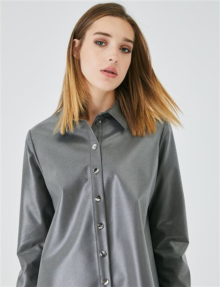 Bone Buttoned Bright Fabric Tunic A20 21143 Grey