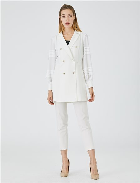 Ribbed Double Breasted Collar Jacket A9 13041 Ecru