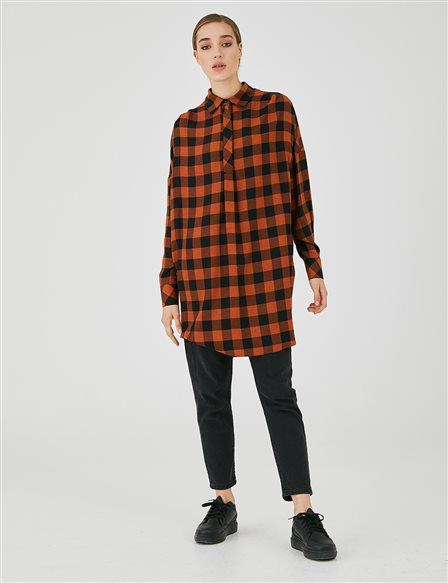 Hidden Half-Pave Plaid Tunic A20 21018 Taba