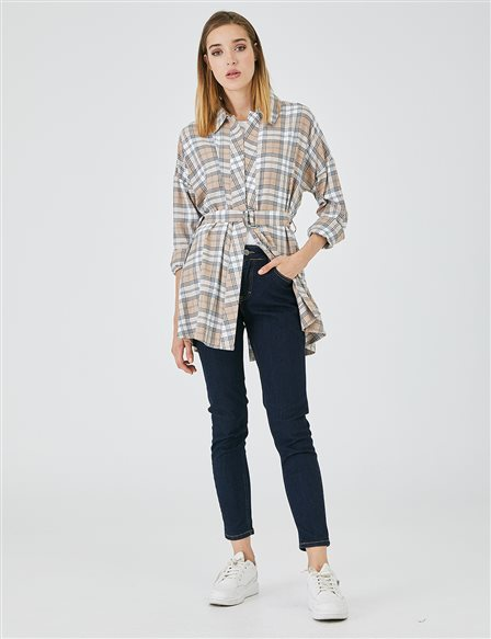 Belted Plaid Tunic A20 21001 Beige