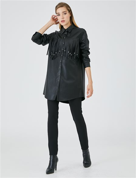 Faux Leather Tasseled Tunic A20 21153 Black