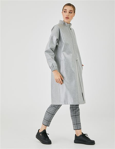 Bright Fabric Grandad Collar Trench Coat A20 14020 Grey