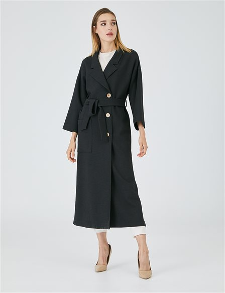 Slit Three Quarter Sleeve Trench Coat A20 14001 Black