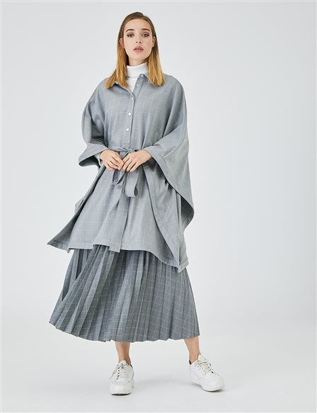 Bat Sleeve Checkered Coat A20 30002 Grey