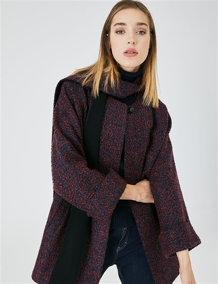 Flecked Shawl Collar Coat A20 17049 Red