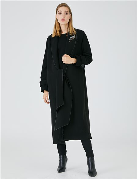 Long Coat With Embroidered Collar A20 17019 Black