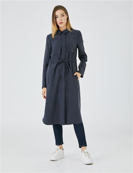 Waist Gathered Short Overcoat A20 15125 Navy