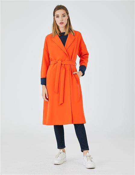 Belted Lapel Topcoat A20 15122 Orange