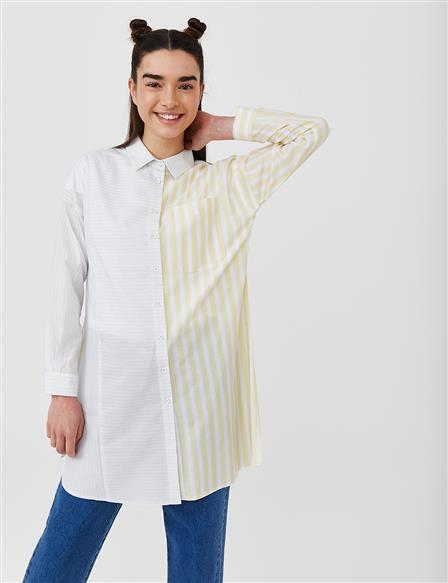KYR Striped Tunic with One Pocket B21 81006 Yellow