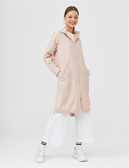 Hooded Sport Trench Coat B21 14007 Powder