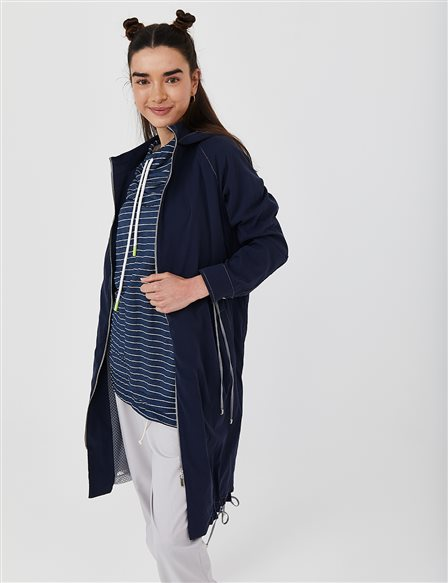 Hooded Sport Trench Coat B21 14007 Navy