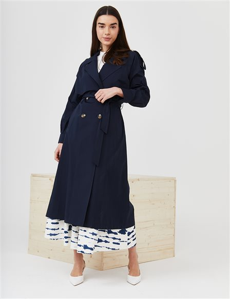Epaulet Double Breasted Collar Trench Coat B21 14008 Navy