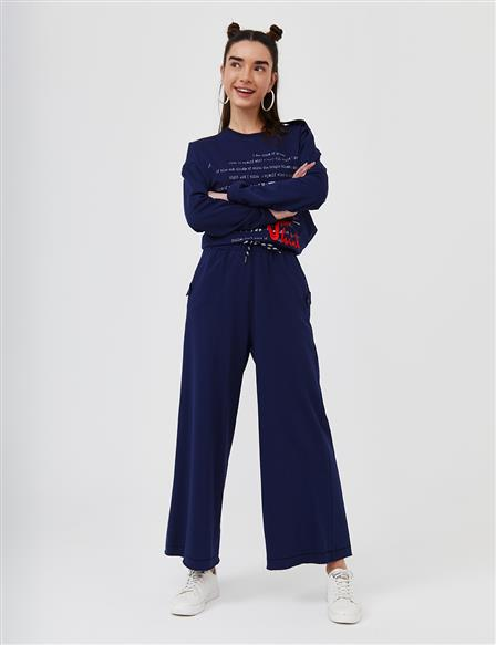 Wide Leg Casual Fit Pants B21 19018 Navy