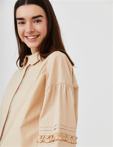 KYR Hidden Placket Ribbed Tunic B21 81010 Beige