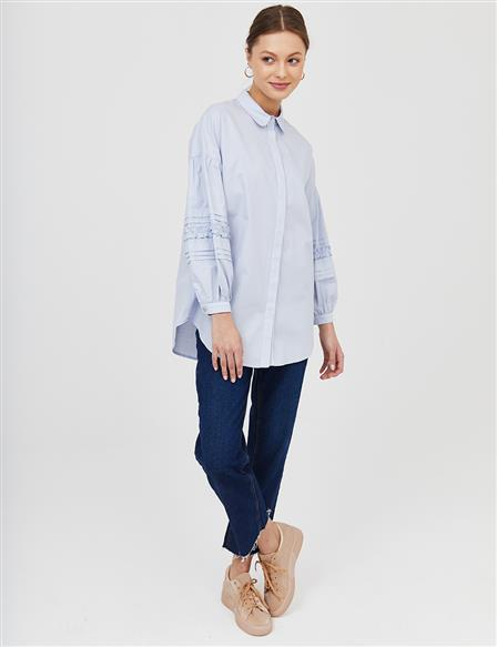 KYR Hidden Placket Ribbed Tunic B21 81010 Light Blue
