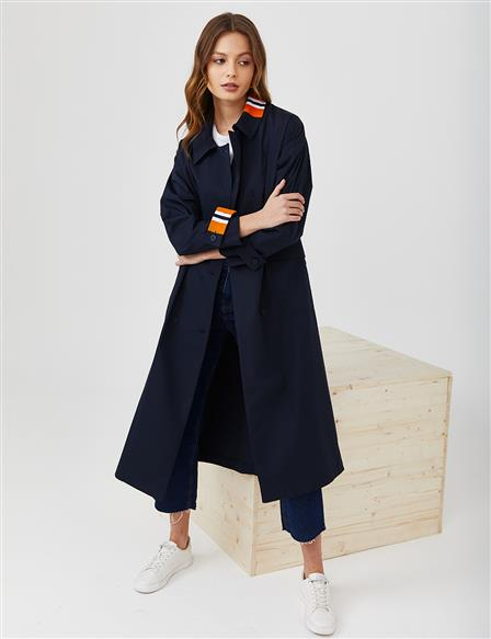 Ankle Epaulet Sport Trench Coat B21 14009 Navy