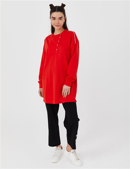 KYR Half Placket Sweatshirt Coral B21 70011