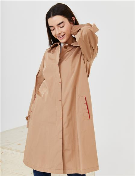 Ankle Epaulet Short Trench Coat B21 14013 Beige