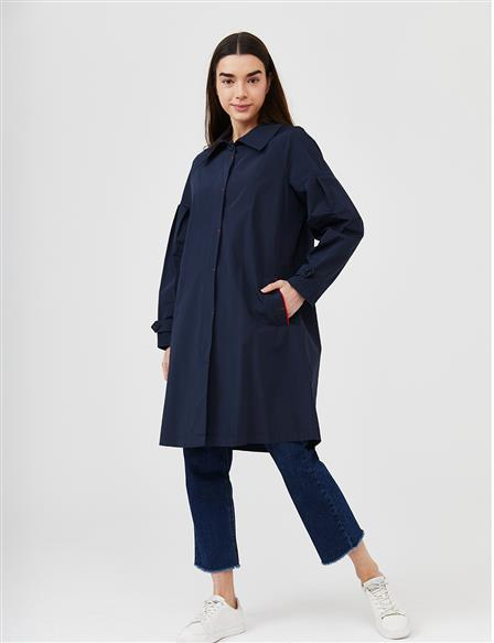 Ankle Epaulet Short Trench Coat B21 14013 Navy