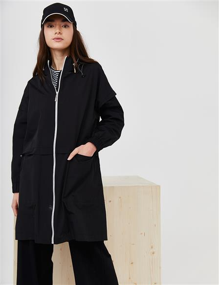 Zippered Sport Trench Coat B21 14010 Black