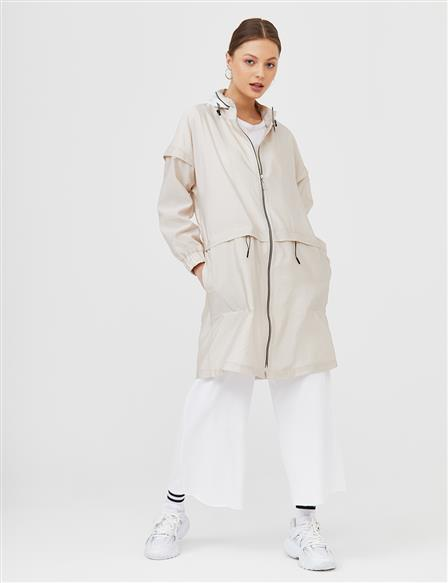 Zippered Sport Trench Coat B21 14010 Stone
