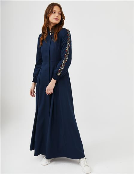 Embroidered Long Topcoat B21 15007 Navy