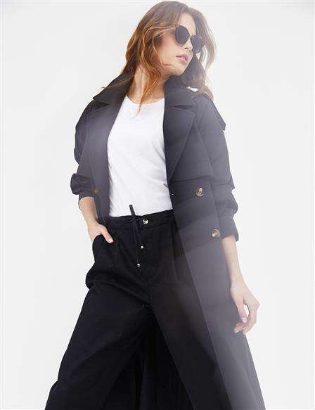 Double Breast Collar Sport Trench Coat B21 14008 Black
