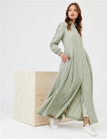 Embroidered Long Topcoat B21 15007 Water Green