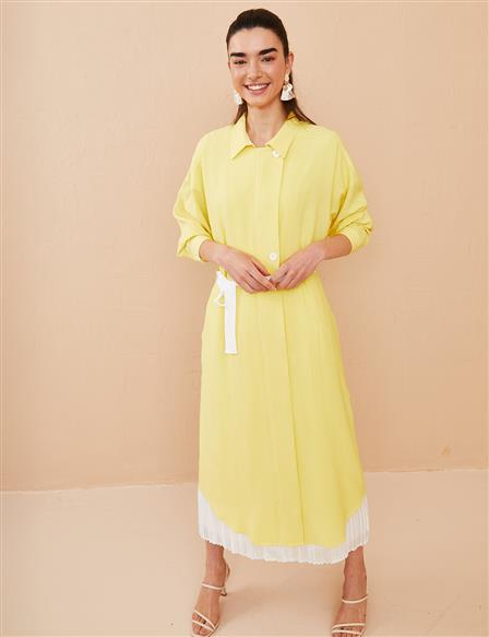 Asymmetric Cut Checkered Tunic B21 21031 Yellow
