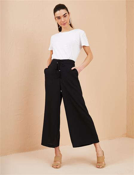 KYR Laced Wide Leg Pants B21 79013 Black