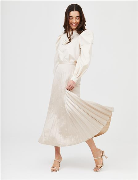 Pleated A-line Skirt B21 12011 Stone